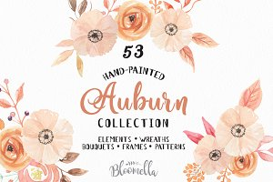 Watercolor Auburn Autumn Fall Pack