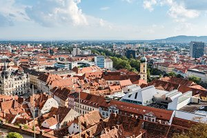 Cityscape of Graz from Schlossberg,