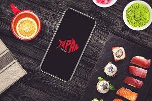 Iphone X in Sushi Bar Mock-up #10