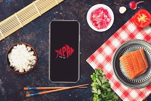 Iphone X in Sushi Bar Mock-up #7