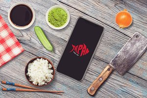 Iphone X in Sushi Bar Mock-up #5