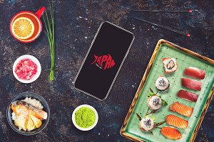 Iphone X in Sushi Bar Mock-up #2