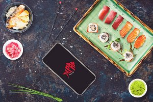 Iphone X in Sushi Bar Mock-up #1