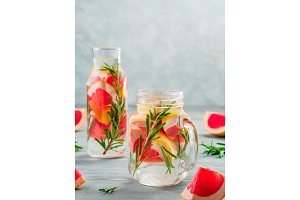 infused detox water with grapefruit and rosemary