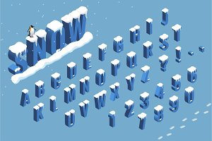 Isometric winter font alphabet with snow. Flat Vector illustration. Isometric abc. Letters, numbers and symbols. Christmas winter holidays vector elements.