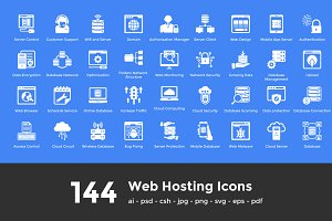 144 Web Hosting Icons
