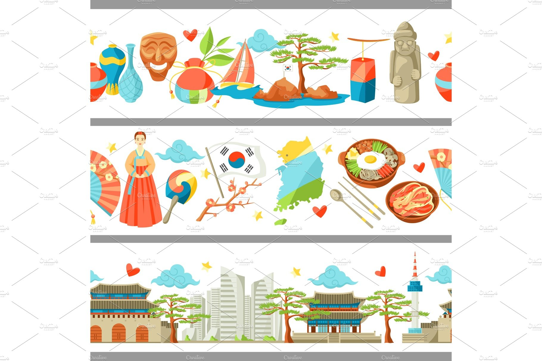 Korea background design korean traditional sticker symbols and south korea seamless borders korean traditional symbols and objects biocorpaavc Image collections