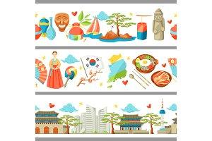 South Korea seamless borders. Korean traditional symbols and objects