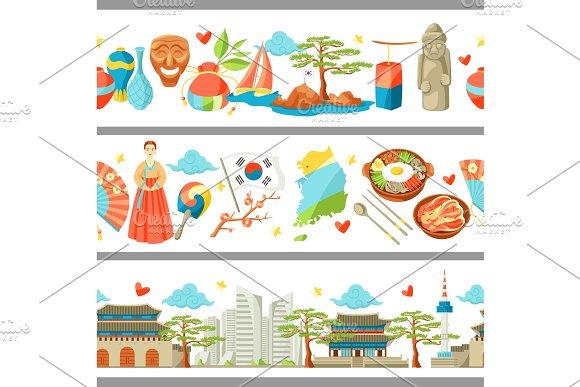 South Korea Seamless Borders Korean Traditional Symbols And Objects