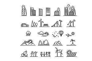 City line icons collection
