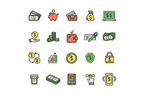 Money Finance Line Icon Set