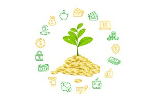 Money Finance Concept. Vector