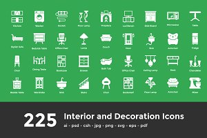 225 Interior and Decoration Icons