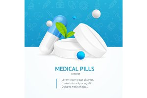 Medical Pills Concept Card. Vector
