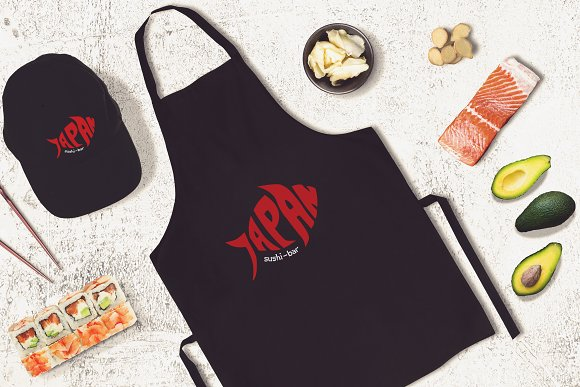 Download Sushi Bar Apron and Cap Mock-up #3