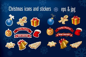 Christmas icons and stickers