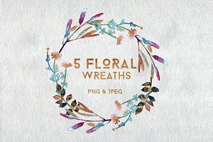 5 Watercolor Floral Wreaths