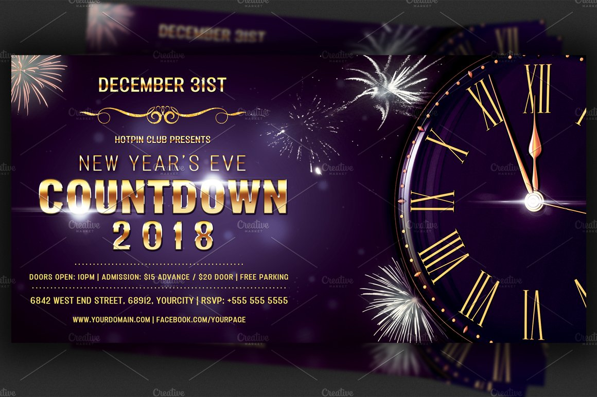 Nye Countdown Party Flyer Template ~ Flyer Templates ~ Creative Market
