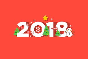 Happy new year 2018 vector greeting card