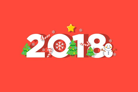 happy new year 2018 vector greeting card objects