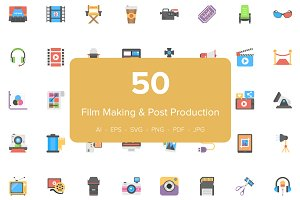50 Flat Film Making Icons