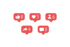 Social network rating icon bubbles
