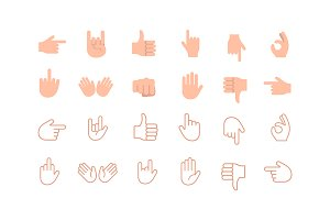 Hand emoji vector icon set
