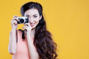 Fashion asian young  girl  photograp
