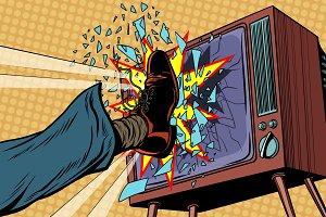 Leg breaks TV, concept fake news