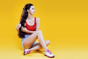 Cute asian young  girl.