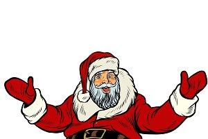 Santa Claus greeting gesture on white background