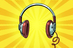 Retro headphones on a yellow background