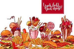 Delicious fast food vector set.