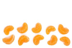 lobules tangerine with leaves isolated on white background with copy space for your text. Flat lay, top view.