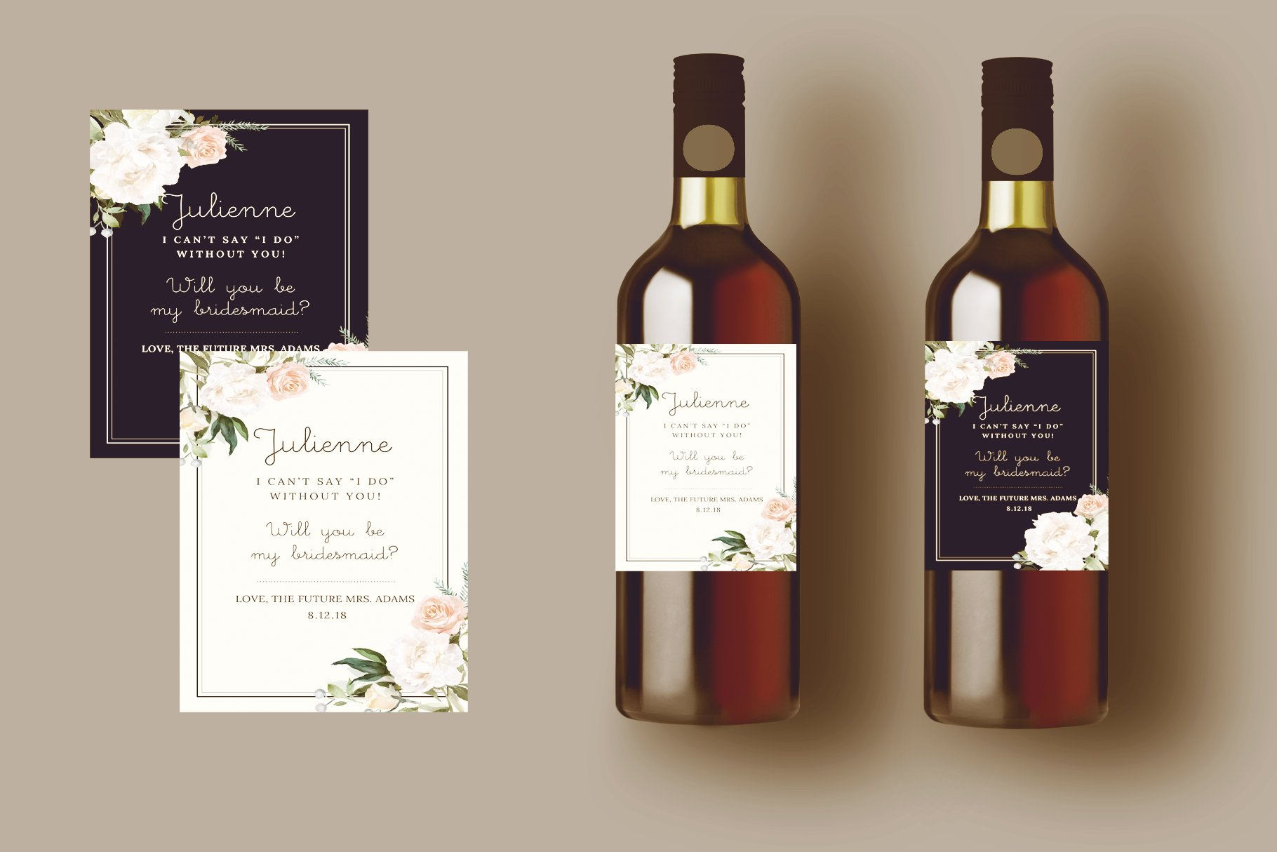 Wine Label Template Set Illustrations Creative Market - Bridesmaid wine label template