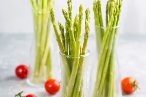 Fresh asparagus and tomatoes