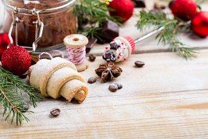 Rugelah cookie and Christmas decorat