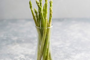 Asparagus in a green vase