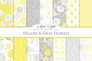 Yellow Gray Floral Vector Patterns
