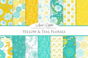 Teal & Yellow Floral Vector Patterns