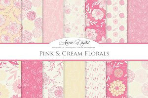 Pink & Cream Flower Vector Patterns