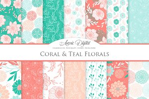 Teal and Coral Flower Vector Pattern