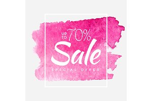 Sale final up to 70 off sign over art brush acrylic stroke paint abstract texture background poster vector illustration. Perfect watercolor design for a shop and sale banners