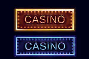 Illuminated casino signboards
