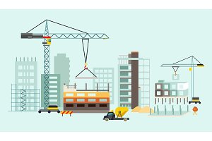 Building work process with houses and construction machines. Vector illustration