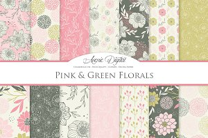 Pink Floral Seamless Vector Patterns