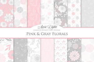 Pink and Gray Floral Vector Patterns
