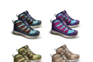 Set of colored travel sneakers