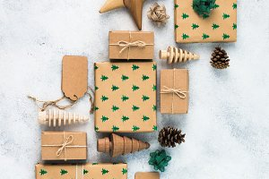 Christmas presents wrap background
