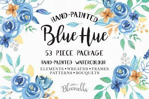 Blue Watercolor Flower Collection